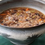Vension Black Bean soup in Moose bowl