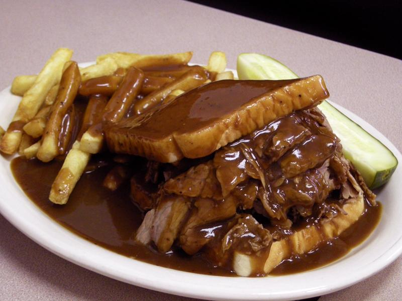 Open-Faced Venison and Gravy Sandwich